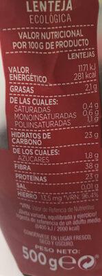 Lentejas - Informació nutricional