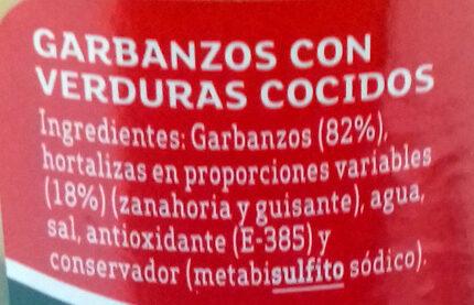 Garbanzos con verduras - Ingredients