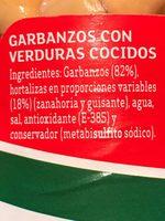 Garbanzos con verduras - Ingrédients - fr