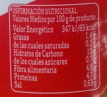 Garbanzos con verduras - Informations nutritionnelles - es
