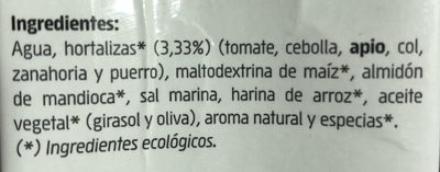 Caldo De Verduras Bio - Ingredients - fr