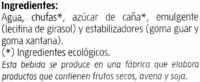 Horchata de chufa ecológica - Ingredientes