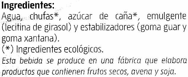 Horchata de chufa ecológica - Ingredientes - es