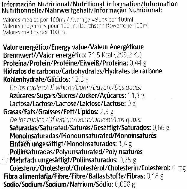 Horchata de chufa ecológica - Información nutricional - es