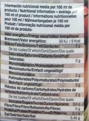 Caldo de verduras - Informació nutricional - es