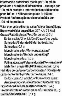Horchata ecológica de chufa - Informació nutricional - es
