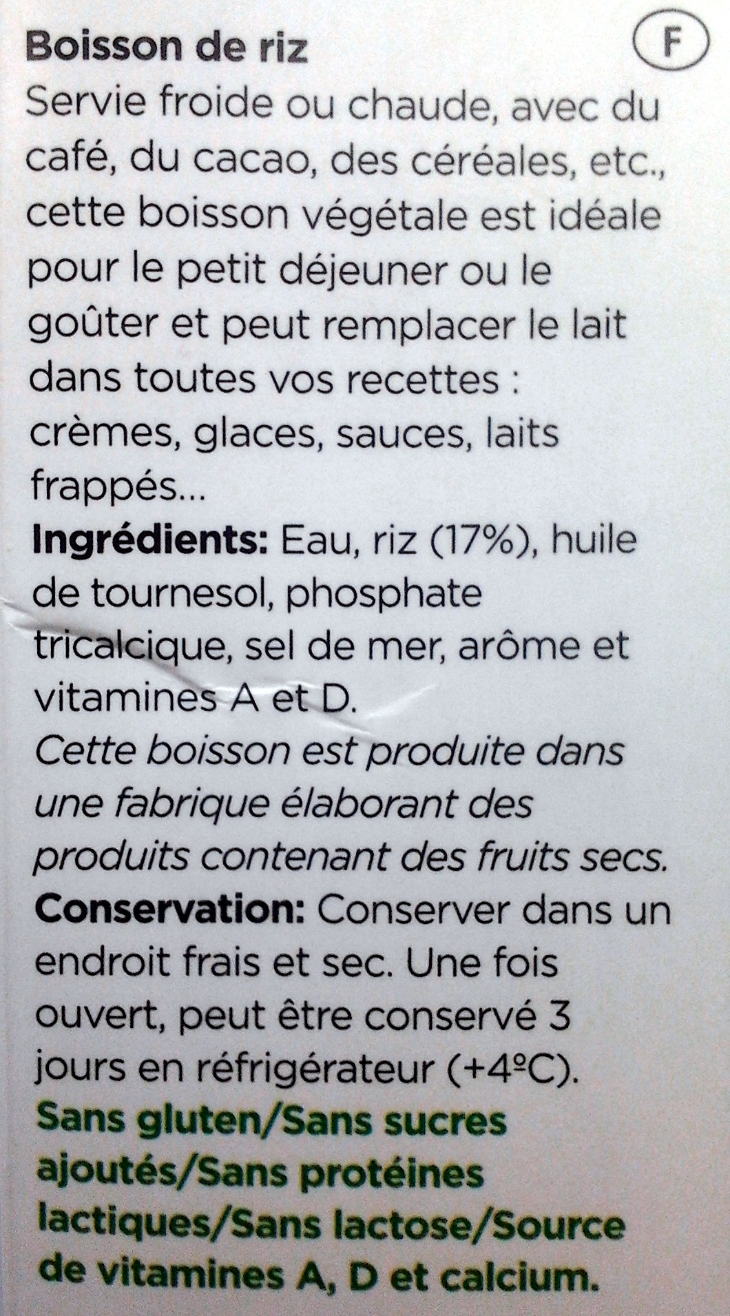 Boisson de riz - Ingredients - fr