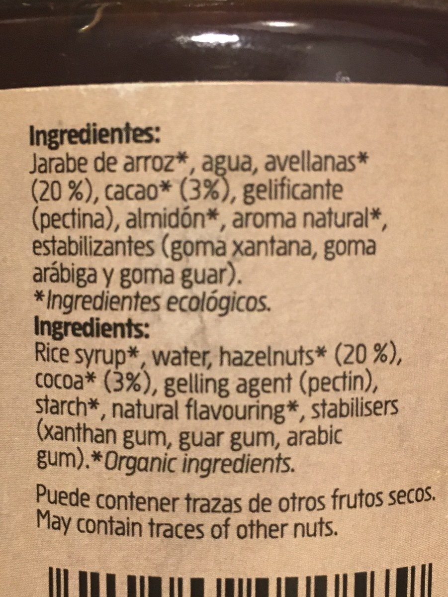 Crema De Avellanas Con Caco Sin Aceite De Palma Eco Amandin - Ingredients - fr