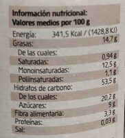 Crema Ecológica de Avellanas - Nutrition facts - es
