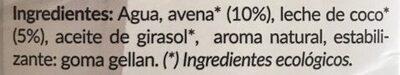 Leche De Avena Con Coco Eco Amandin - Ingredientes