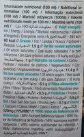 Bebida ecológica arroz con coco - Informations nutritionnelles