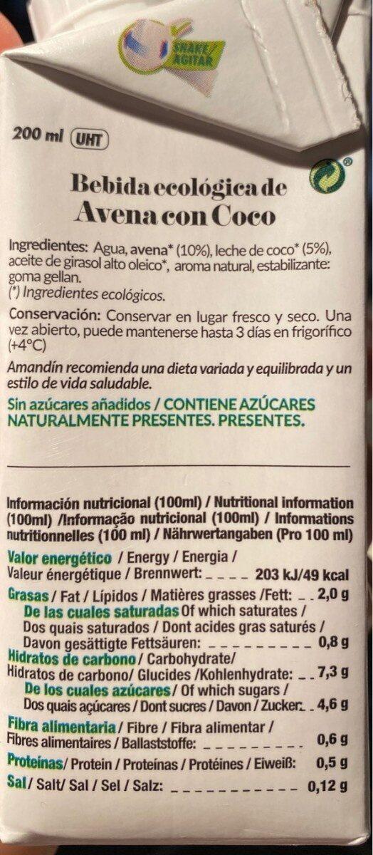 Avena con coco - Nutrition facts - es