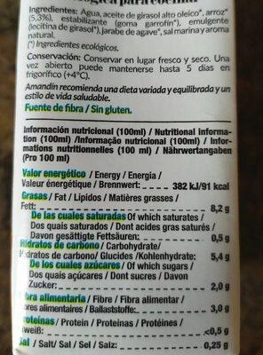 Cuisine Arroz - Nutrition facts - es