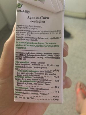 Agua de Coco - Nutrition facts - es