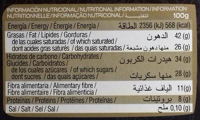 Chocolate negro 72% cacao - Información nutricional