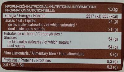 Postres chocolate blanco para culinaria - Información nutricional