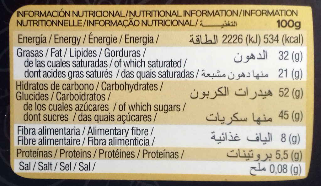 Chocolate Negro Fondant 55% Cacao - Informació nutricional - es