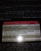 Chocolate negro 72% - Nutrition facts