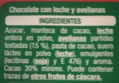 Chocolate con leche y avellanas troceadas - Ingredients - es