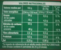 Chocolate con leche y avellanas troceadas - Informació nutricional - es