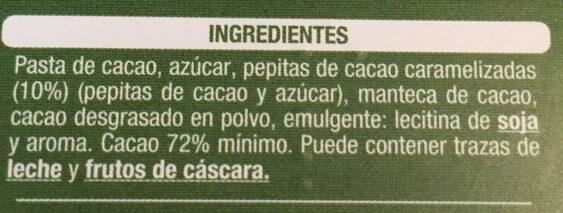 Chocolate negro 72% cacao con pepitas de cacao - Ingredients - es