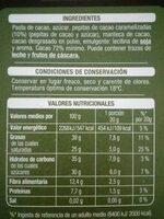 Chocolate negro 72% cacao con pepitas de cacao - Informació nutricional - es