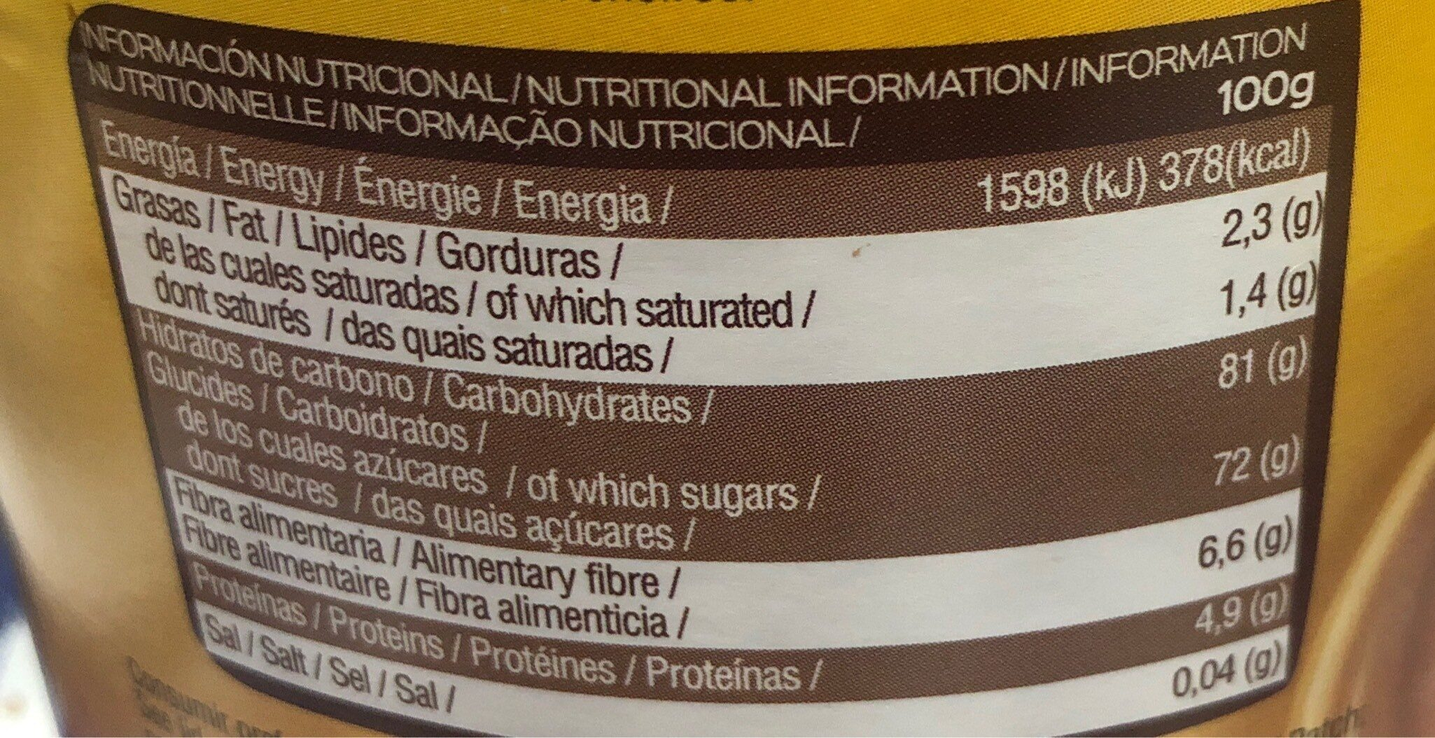 Soluble al Cacao - Informations nutritionnelles - es