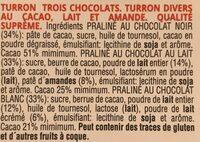 Turrón trois chocolats - Ingrédients - fr