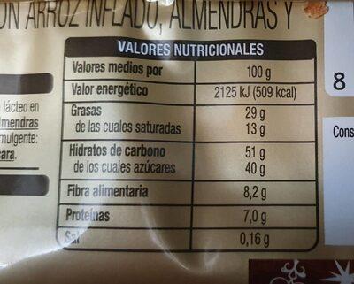 Turrón de chocolate negro crujiente - Información nutricional - es