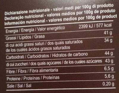 Tartufo - Informations nutritionnelles - es