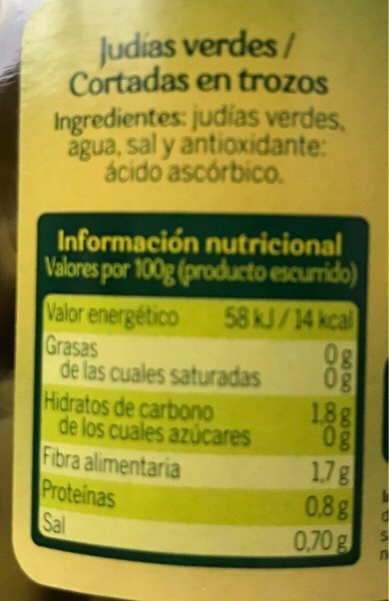 Judías verdes - Informació nutricional