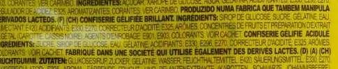 Jelly Worms Vers de Terre - Ingredients - fr