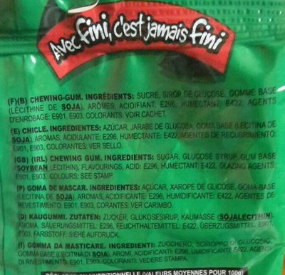Fini Watermelon Bubble Gum - Ingrédients
