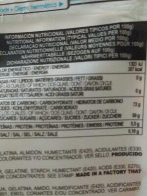 Fini Sweets Jelly Mini Treats - Información nutricional - en