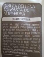 Almendras rellenas - Ingredients - es
