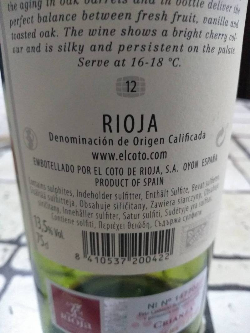 El Coto Crianza Vino X750ML - Ingredients - fr