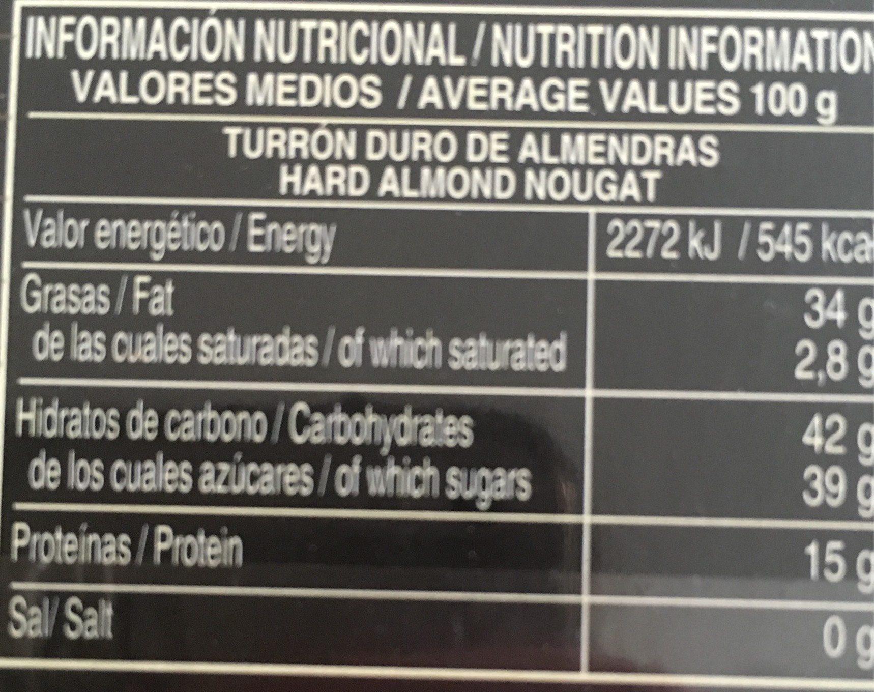 Turron Duro - Informations nutritionnelles - fr