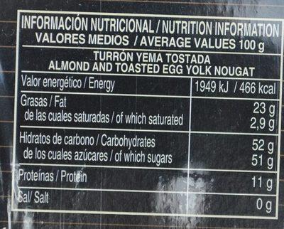 Turron Yema Tostada - Informació nutricional