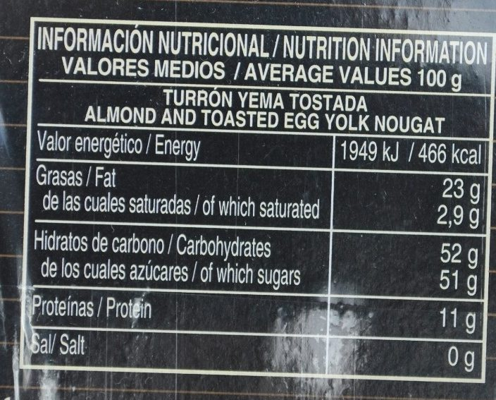 Turron Yema Tostada - Nutrition facts - fr