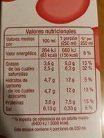 Leche entera - Informations nutritionnelles - es