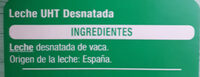 Leche UHT desnatada - Ingrédients - es