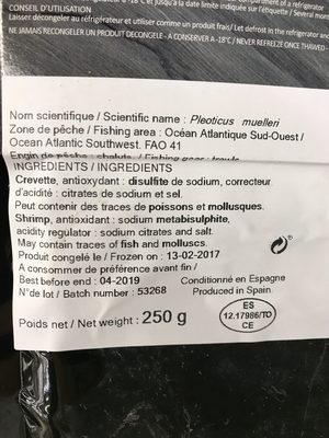 Crevettes - Ingrediënten