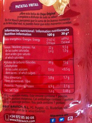 Chips - Información nutricional