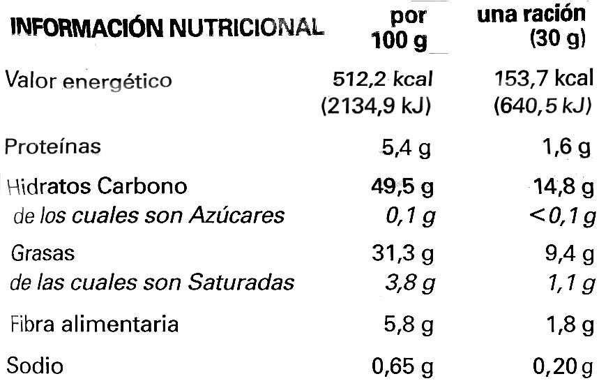 Premium patatas fritas con aceite de oliva virgen bolsa 160 g - Información nutricional