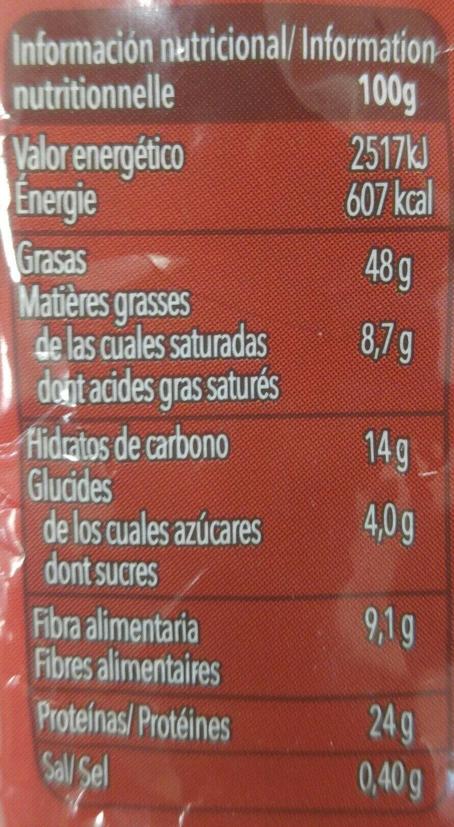 Cacahuetes salados - Información nutricional - es