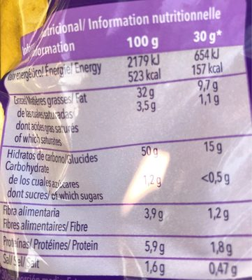 Chips workcester - Información nutricional