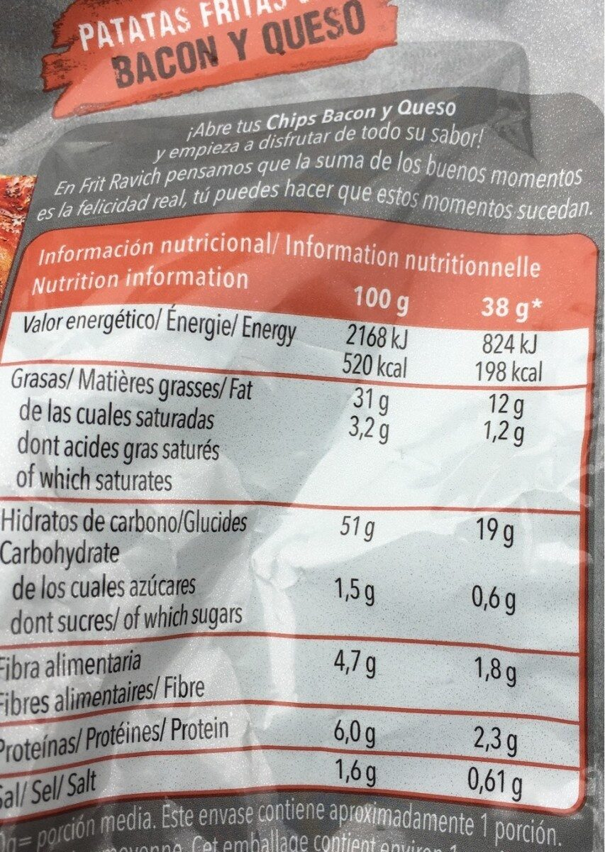 Chips bacon &cheese - Nutrition facts - es