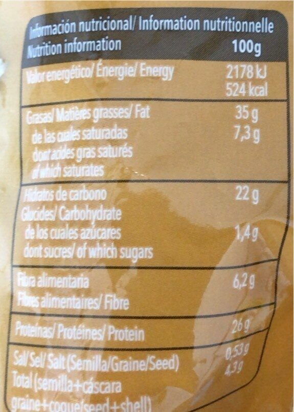 Pipas Calabaza - Informació nutricional - fr