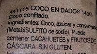 Noix de coco séchée - Ingrediënten