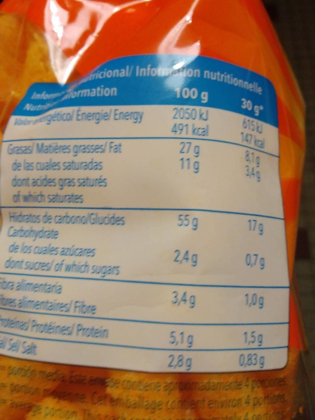 Ganchitos - Nutrition facts - fr